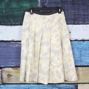Anne Klein Yellow Gray Silk Floral Pleated Skirt
